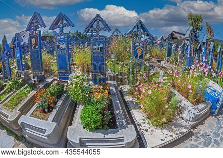 Sapanta, Maramures, Romania - September 18, 2020: The Merry Cemetery, Famous In The World For Its Co