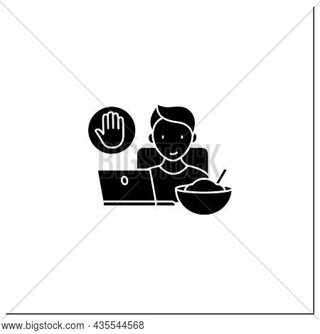 Mindful Eating Glyph Icon. Eating At Desk In Front Of Computer Screen.eat Mindlessly, Unconscious Nu