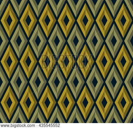 Geometric Background Pattern Seamless. Diamond Shape Green Yellow Color. Surface Design For Apparel,