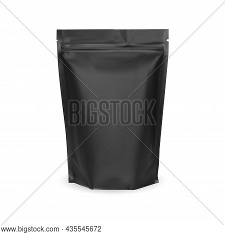 Coffee Bag. Black Zip Foil Package Blank Mockup. Nuts Pouch Food Pack Design. Protein Nutrition Prod