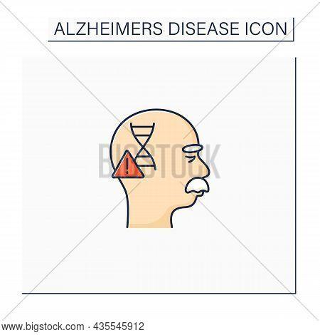 Genetic Cause Color Icon. Apoe E4 Gene. Genetic Predisposition To Disease.alzheimer Disease. Neurolo