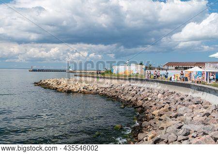 Hel, Poland - July 20, 2021: Rocky Coastline On Hel Peninsula Near Harbour.