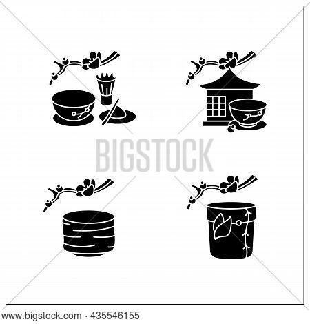 Japanese Tea Ceremony Glyph Icons Set. Tea Caddy, Bowl, Room, Matcha. Japan Ancient Tradition. Tea C