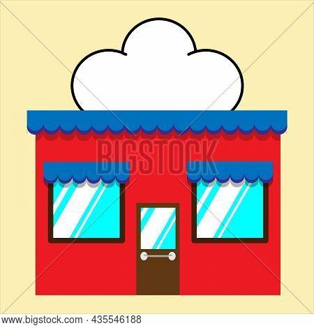 Mini Store Facade Exterior Vector Illustration. Flat Style Market Street Store Building Facade.