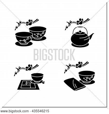Japanese Tea Ceremony Glyph Icons Set. Japanese Tea Cups, Teapot, Tatami Mat, Chakin. Japan Ancient