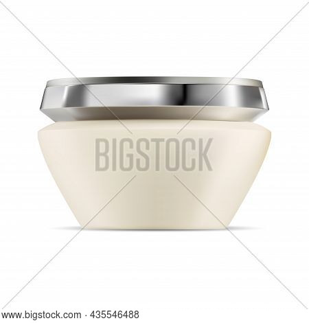 Face Cream Jar. Cosmetic Cream Bottle, Skin Care Beauty. Plastic Packaging With Silver Cap. Luxury P