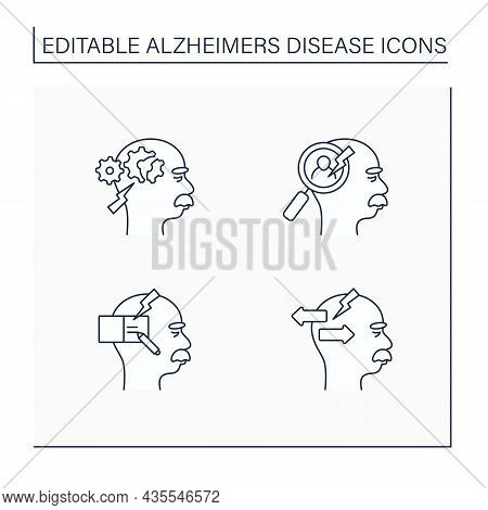 Alzheimer Disease Line Icons Set. Cognitive Deficits, Writing, Recognition Problems, Behavior Change