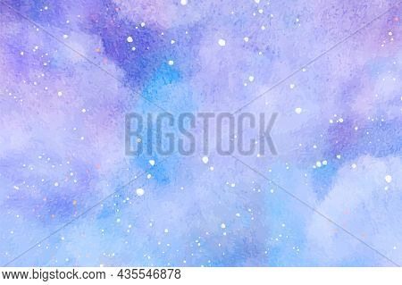 Abstract Watercolor Background. Snowfall On A Cold Blue Winter Background. Hand Painted Watercolor S
