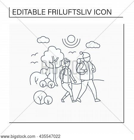 Friluftsliv Line Icon. Family Hiking. Man And Woman Walking In Park. Nice Weather. Nature Landscape.