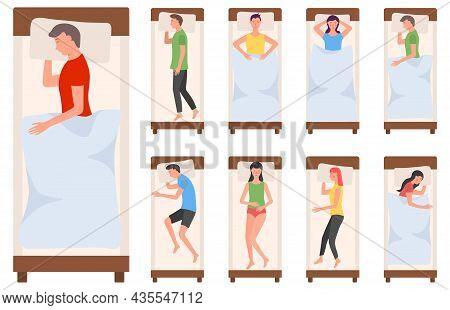 People Character Sleeping In Bed, Woman, Man Sleep