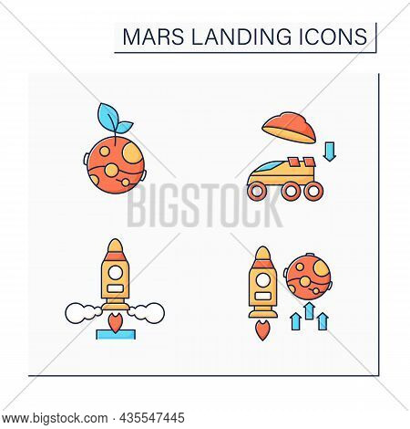 Mars Landing Color Icons Set. Uninhabited Planet. Landing On Surface, Life On Mars, Mission, Launch