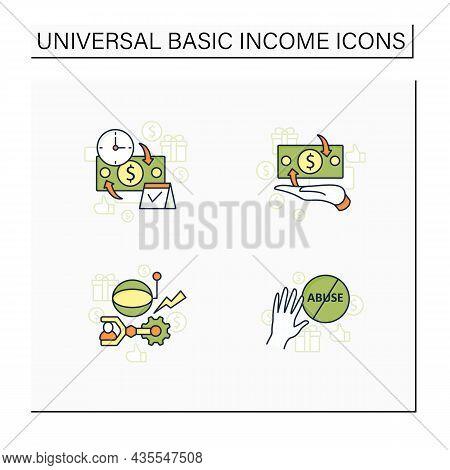 Universal Basic Income Color Icons Set. Technological Unemployment, Ending Abuse, Cash Payment, Peri