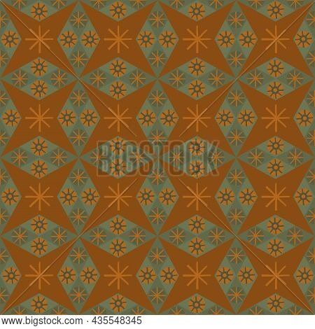 Abstract Star Shaped Seamless Vector Pattern Background. Azulejo Style Backdrop With Diamond, Rhombu