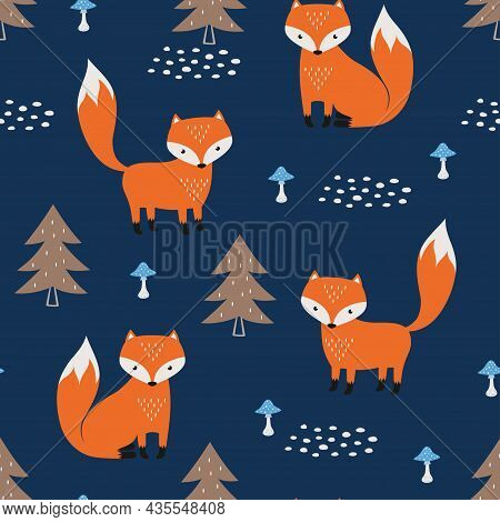Seamless Pattern With Cute Foxes And Mushrooms On Dark Background, Vector Cute Animal Print