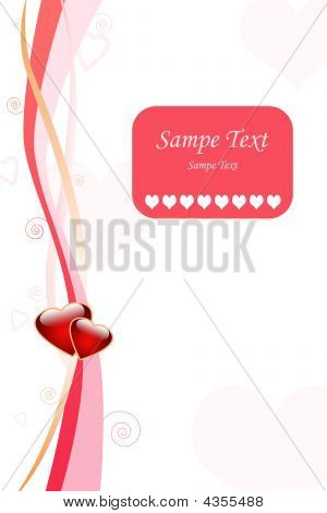 Love greeting card design with stripes curls and hearts poster