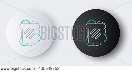 Line Sandwich Icon Isolated On Grey Background. Hamburger Icon. Burger Food Symbol. Cheeseburger Sig