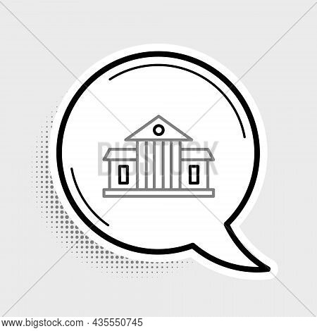 Line White House Icon Isolated On Grey Background. Washington Dc. Colorful Outline Concept. Vector