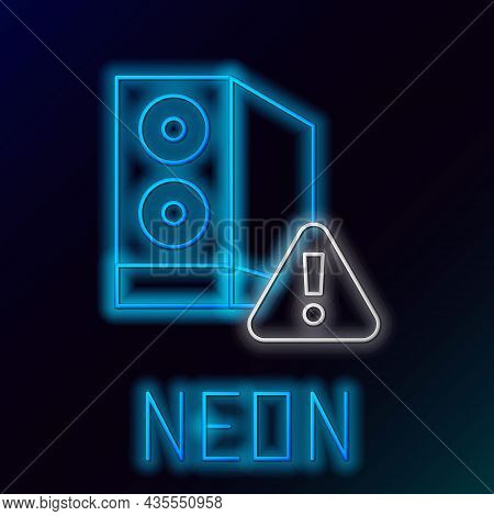 Glowing Neon Line Case Of Computer With Exclamation Mark Icon Isolated On Black Background. Computer