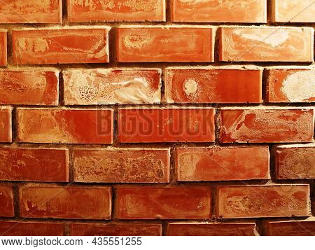 Bright Brick Wall Surface With Traces Of Whitewash, Textured Background Of Orange Brickwork With Scu