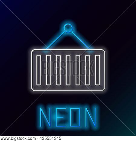 Glowing Neon Line Container On Crane Icon Isolated On Black Background. Crane Lifts A Container With