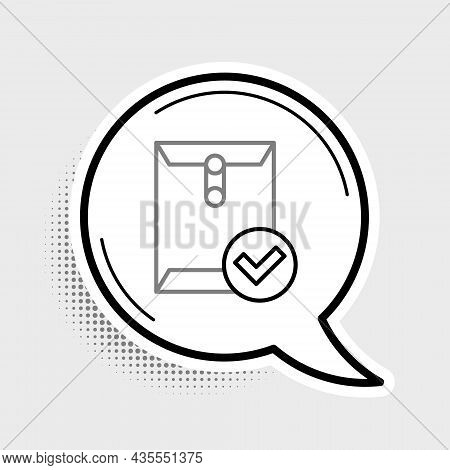 Line Envelope And Check Mark Icon Isolated On Grey Background. Successful E-mail Delivery, Email Del