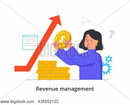 Revenue Management Concept. Woman Holds Coins In Her Hands And Invests Them Wisely. Financial Litera