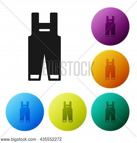 Black Work Overalls Icon Isolated On White Background. Set Icons In Color Circle Buttons. Vector