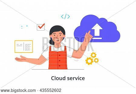 Cloud Service Concept. Woman Downloads Files For Work From Shared Database. Entrepreneur Uses Modern