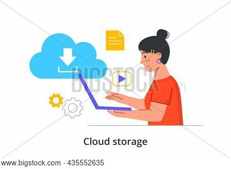 Cloud Storage. Woman Sits At Laptop And Receives Information From Shared Data Warehouse. Digital Ser