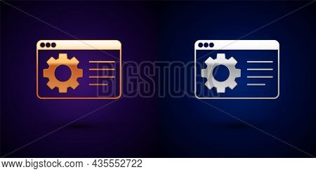 Gold And Silver Browser Setting Icon Isolated On Black Background. Adjusting, Service, Maintenance,