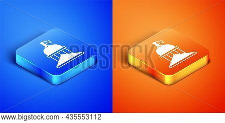 Isometric White House Icon Isolated On Blue And Orange Background. Washington Dc. Square Button. Vec