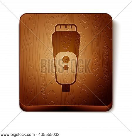 Brown Electric Razor Blade For Men Icon Isolated On White Background. Electric Shaver. Wooden Square