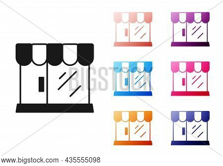 Black Barbershop Building Icon Isolated On White Background. Set Icons Colorful. Vector