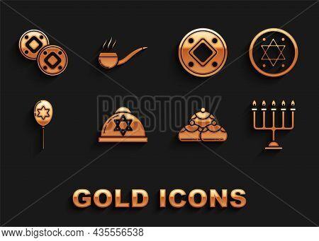 Set Jewish Kippah With Star Of David, Coin, Hanukkah Menorah, Sweet Bakery, Balloons Ribbon, And Smo