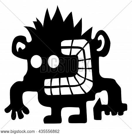 Crazy Smasher Cartoon Character Black Silhouette, Vector Illustration, Horizontal, Isolated, Over Wh