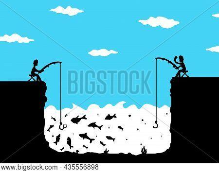 Fishing Envy Scene Silhouette Cartoon Black And Color, Vector Illustration, Horizontal