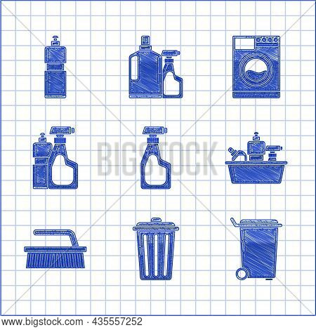 Set Cleaning Spray Bottle With Detergent Liquid, Trash Can, Plastic Bottles For Dishwashing, Brush C
