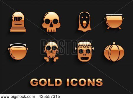 Set Skull On Crossbones, Halloween Witch Cauldron, Pumpkin, Zombie Mask, Funny And Scary Ghost For,