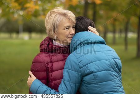 Two Adult Women, Blonde And Brunette, Embracing, In The Park, Meeting Girlfriends, Hugging, Golden A