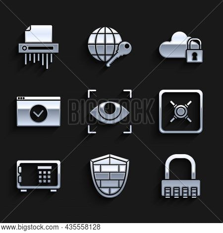 Set Eye Scan, Shield With Cyber Security Brick Wall, Safe Combination Lock, Secure Your Site Https,
