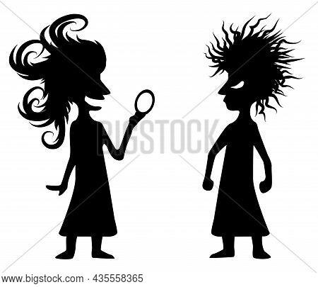 Hairstyle Women Envy Figures Silhouette Funny Cartoon Stencil Black, Vector Illustration, Horizontal