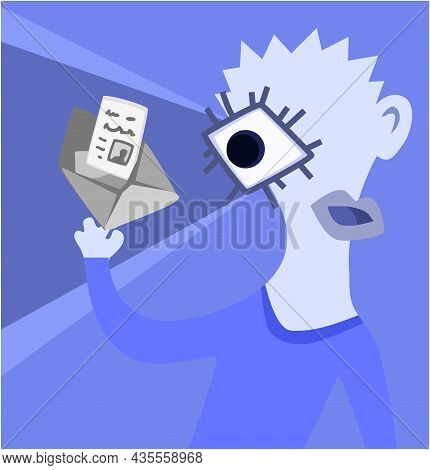Message Mail Reading Odd Surreal Abstract Character Figure Cartoon Color Vector Illustration, Horizo