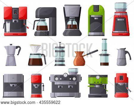 Coffee Machines, Coffee Maker, Espresso Machine And Coffee Pot. French Press, Restaurant Or Home Cof