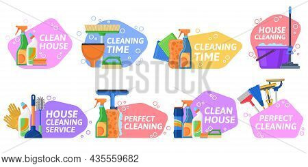 House Cleaning Services, Household Equipment Emblems. Housekeeping Supplies, Detergents And Cleaning