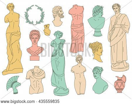 Ancient Greek Gods Antique Statues And Antique Sculptures. Antique Gods Marble Heads, Busts And Monu