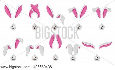 Cartoon Rabbit Ears, Cute Bunny Ears Selfie Or Video Chat Masks. Rabbit Ears And Noses Selfie Filter