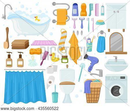 Cartoon Bathroom Elements, Bathtub, Sink, Shower, Towels And Soap. Bath, Hygiene Products, Toilet, W