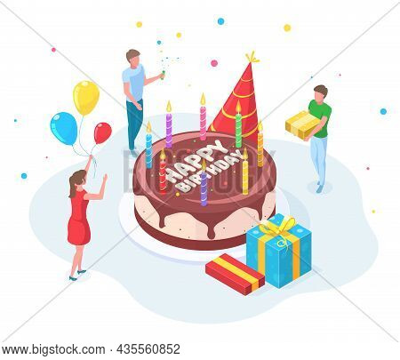 Isometric Happy Birthday Party People Celebration Concept. Characters Celebrating Birthday Event, Co