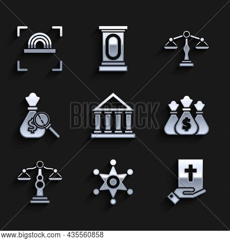 Set Courthouse Building, Hexagram Sheriff, Oath On The Holy Bible, Money Bag, Scales Of Justice, And