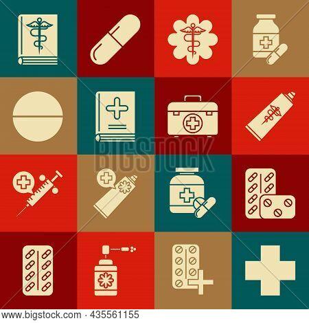 Set Cross Hospital Medical, Pills In Blister Pack, Ointment Cream Tube Medicine, Emergency Star Symb